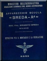 Breda Ba A4 Aircraft Erection and Maintenance Manual,  Istruzioni per il Montaggio  e la Regolazione ( Italian Language ) ,