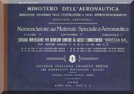 Breda Ba 25 Aircraft Illustrated Parts Catalog Manual,  Nomenclatore Del Materiale Speciale ( Italian Language ) , 1932