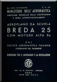 Breda Ba 25 Aircraft Erection and Maintenance Manual,  Istruzioni per il Montaggio  e la Regolazione ( Italian Language ) , CA 417 - 1938