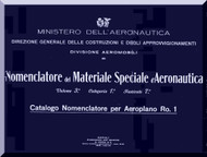 IMAM Ro.1 Aircraft Illustrated Parts Catalog  Manual, Catalogo Nomenclatore ( Italian Language )