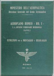 IMAM Romeo Ro.1 Aircraft Erection and Maintenance Manual,  Istruzioni per il Montaggio  e la Regolazione ( Italian Language ) ,