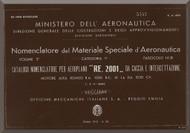 Reggiane R-2001 Aircraft Illustrated Parts Catalog  Manual, Catalogo Nomenclatore ( Italian Language ) CA.493 - 1942