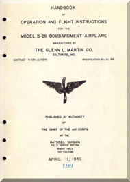 Glenn Martin B-26 Bombardment Airplane  Handbook of operation and flight instruction  Flight Manual   ,  1941