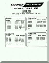 Mooney M.20 C E F G Aircraft  Illustrated Parts Manual - 1976