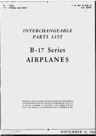 Boeing B-17  Aircraft  Interchangeable Parts List   Manual -  AN 01-20E-16 ,   1943