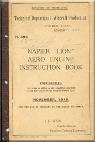 Napier Lion Aero Engine Instruction Book  Manual - 1918
