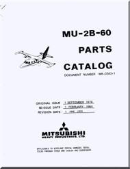 Misubishi MU-2B-60 Aircraft Parts Catalog  Manual ( English  Language )