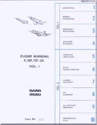 SAAB 35 XD F / RF / TF-35  Aircraft  Flight  Manual,  ( English Language )