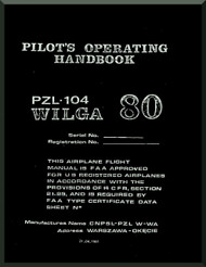 PZL 104 Wilga  Aircraft  Pilot's operating Handbook  Manual -  ( English Language ) , 1981