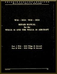PZL 104 Wilga 32 and 35  Aircraft  Repair Manual -  ( English Language ) , 1981