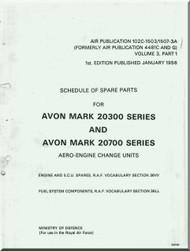 Rolls Royce Avon Mark 20300 - 20700 Aircraft Engine Spare Parts Manual