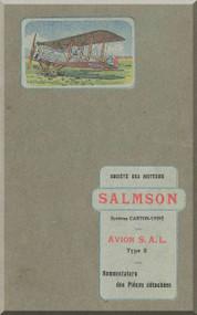 Salamson Avion S.A.L. Type 2 Parts Catalog  - Noenclature des Pieces detachees ( French Language )