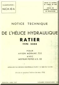 Ratier Propeller / Morane Saulnier MS-733  Aircraft Propeller Ratier Type 2304  Manual