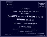 "Dassault  "" Flamant I II III ""   Aircraft  Mechanical Parts Catalog  Manual -  Equipments - Graphic , ( French Language )"