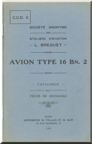 Breguet Type 16 Bn 2  Aircraft Parts Catalog  Manual ( French Language )