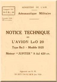 Lioré et Olivier LeO 20 (Notice technique)  Manual   (French language )