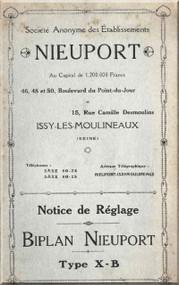 Nieuport Type X-B Aircraft Technical  Manual ( French Language )