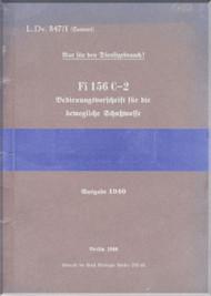 Fieseler Fi-156 Aircraft Operating Instructions Manual - Bedienungsvorschrift -   (German Language ) -