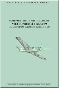 Messerschmitt Bf-109   Aircraft  Operate Instructions and Mobilize Instructions  Manual ,    (Serbian Language )