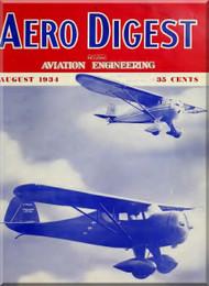 Aero Digest  Aircraft Aviation Magazines Agust 1934