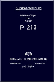 Blohm & Voss BV-P 213 Aircraft Technical Manual -  Kuzbeschreibung (German Language )