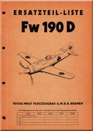 Focke-Wulf  FW 190 D Aircraft  Illustrated Parts Catalog  Manual ,    (German Language ) -   Ersatzteilliste, 1943,