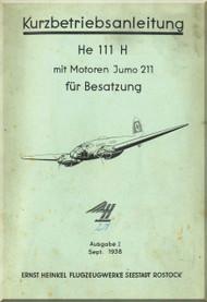 Heinkel  He-111 H Aircraft  Operating Instruction - Kurbetriebsanleitung (German Language )