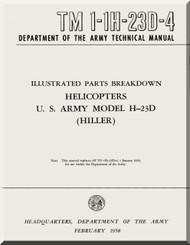 Hiller H-23 D  Helicopter Illustrated Parts Breakdown  Manual - TM 1-1H-23D-4 -