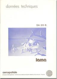 Sud Aviation / Aerospatiale  SA.315 B Helicopter Technical Brochure Manual  ( French  Language )