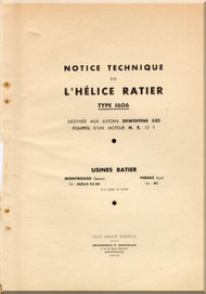Ratier Propeller Type 1606 / Dewotine 520 Aircraft Propeller   Manual  ( French Language )