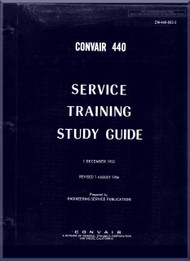 Convair 440 Aircraft Service Training Study Guide  Manual - 1956