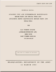 T-62T-2B ; Technical Manual Aviation Unit and Intermediate Maintenance Repair Parts and Special Tools List;  1983; TM 55-2835-208-23P