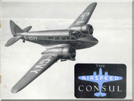 Airspeed Consul   Aircraft Airplanes Technical Brochure  Manual