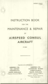 Airspeed Consul    Aircraft Airplanes Instruction Book Maintenance and Repair   Manual