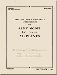 Consolidated / Stinson L-1 ,  Aircraft Erection and Maintenance Instructions Manual - 01-500A-2- 1943