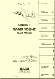 SAAB 105-2 Aircraft  Flight  Manual,  ( English Language ) ,  1975