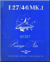 Boulton Paoul P.111 ( E.27 / 46 Mk.1 )  Aircraft  Prortotype Pilot's Notes Manual