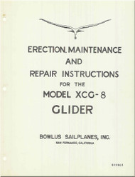 Bowlus Sailplane XCG-8 Aircraft Erection and Maintenance  Manual