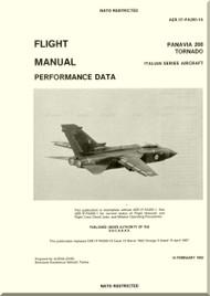 Panavia 200 Tornado Aircraft Flight Manual Performance Italian series  AER 1F-PA200-1A dated 15/02/1992  - 374 pages