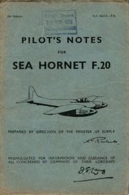 De Havilland  Sea Hornet F.20 Aircraft Pilot's Notes Manual - A.P. 4037A - PN