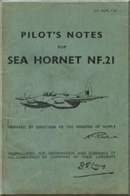 De Havilland  Sea Hornet NF.21 Aircraft Pilot's Notes Manual - A.P. 4037B - PN