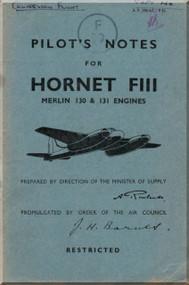 # De Havilland  Hornet FIII Aircraft Pilot's Notes Manual - A.P. 2864 - C - PN