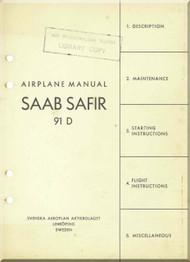 SAAB 91 D Safir Aircraft  Manual  ( English Language )