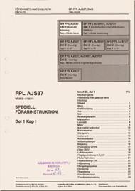 SAAB  AJS 37  Viggen  Aircraft Flight  Manual -  Flygvapnet Speciell Forarinstruktion - Del 1 Kap 1,   ( Swedish Language )
