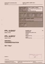 SAAB  AJSH 37 AJSF37  Viggen  Aircraft Flight  Manual -  Flygvapnet Speciell Forarinstruktion - Del 1 Kap 1,   ( Swedish Language )