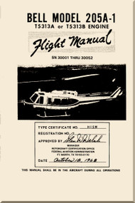 Bell Helicopter 205 A-1  Flight Manual - SN 3001 Thru 30050 - 1968 - BHT-205A1-FM-1