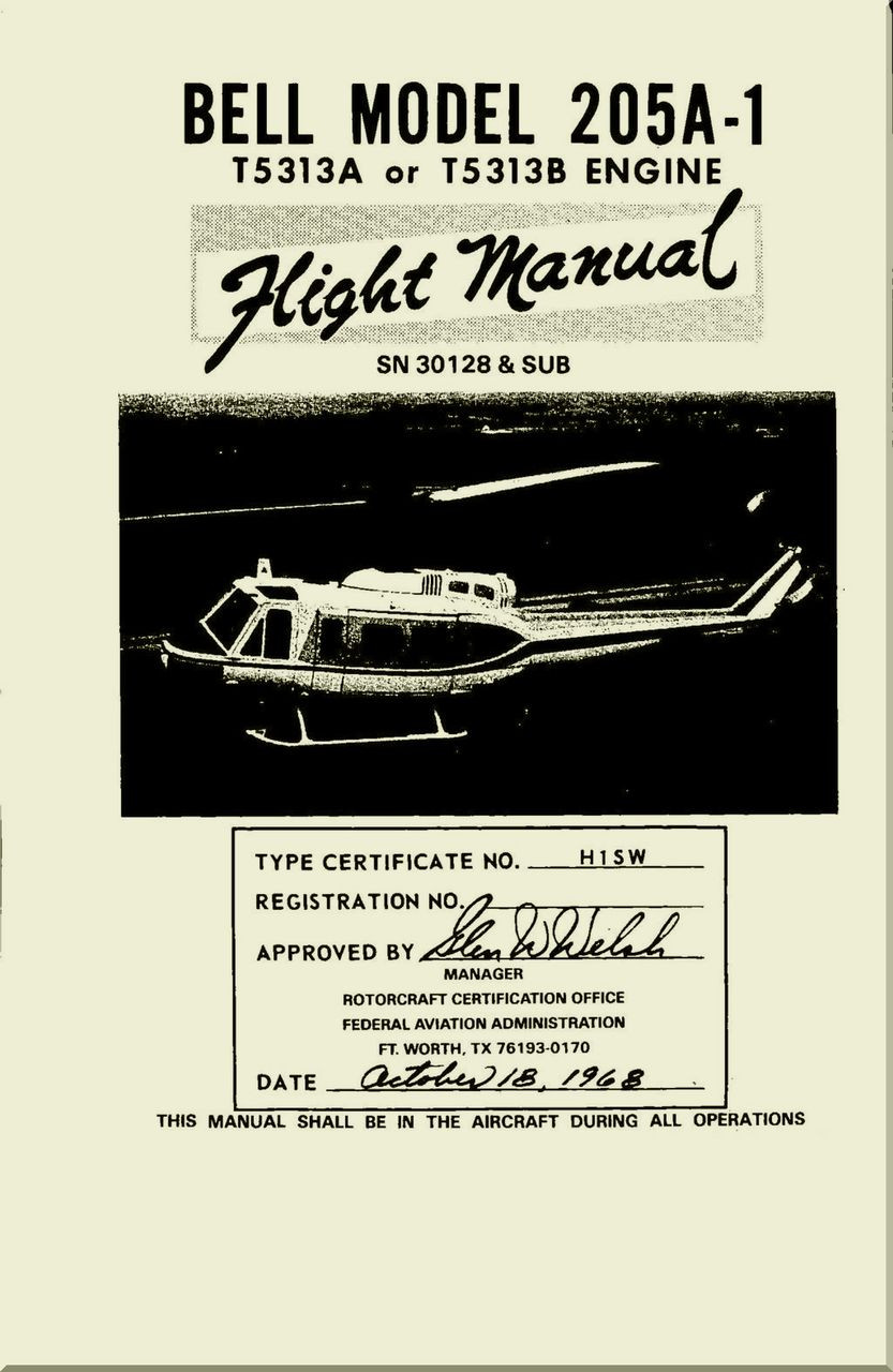 Bell Helicopter 205 A 1 Flight Manual Sn 30128 Sub 1968 Bht Parts Diagram Image