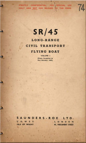 Saunders Roe  ( SaRo ) Princess SR/45 Aircraft  Long-Range Civil Transport Flying Boat   Manual - Volume I