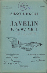 Gloster Javelin F ( A.W. )  Mk.1  Aircraft  Pilot's Notes Manual - A.P. 4491A-P.N. - 1959