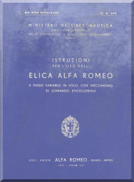 Alfa Romeo Aircraft Propeller Maintenance Manual - Elica - CA 595 - 1941